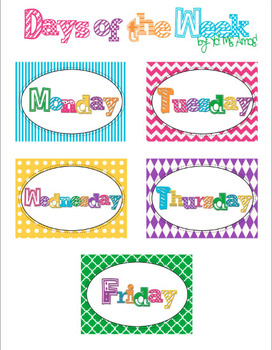 Days of the Week Free Printable Tags