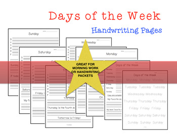 Days of the Week Handwriting Pages