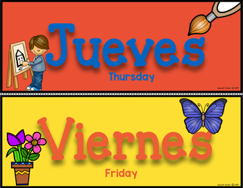 Days of the Week Headers and Posters in Spanish (Bold)