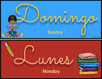Days of the Week Headers and Posters in Spanish (Cursive)