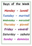 Days of the Week - Italian and English