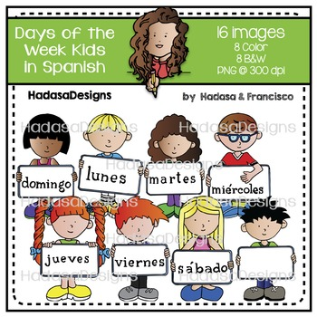 Days of the Week Kids in Spanish Clip Art Set