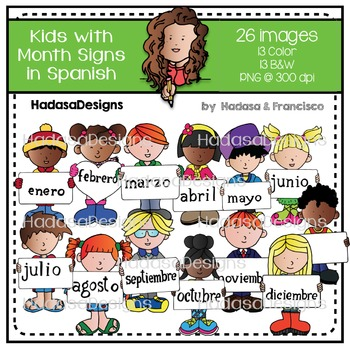 Kids with Month Signs in Spanish Clip Art Set