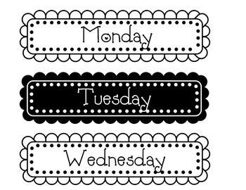 Days of the Week Labels