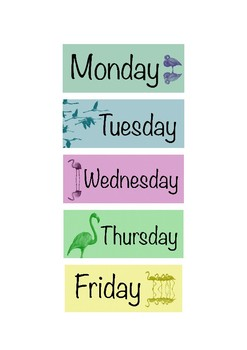 Days of the Week Labels Flamingo Theme