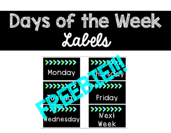 Days of the Week Labels Freebie