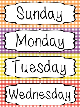 Days of the Week Labels - Gingham