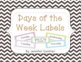 Days of the Week Labels - Pastel Chevron Set