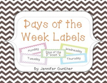 Days of the Week Labels - Pastel Chevron Set