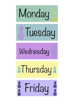 Days of the Week Labels Pineapple Theme