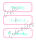 Days of the Week Labels Pink and Mint