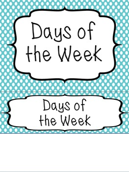 Days of the Week Labels - Polka Dots