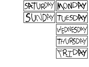 Days of the Week Labels - Student Writing