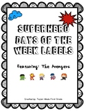 Days of the Week Labels - Superhero Theme (Avengers)