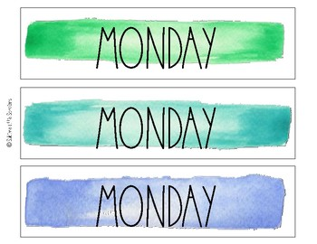 Days of the Week Watercolor Labels