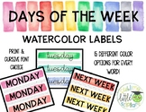 Days of the Week Labels Watercolor Bundle
