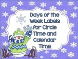 Days of the Week Labels: Winter Set