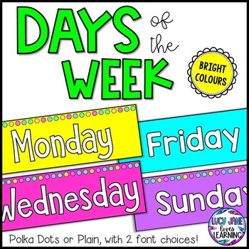 Days of the Week Labels and Display Header - Bright Colors