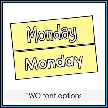 Days of the Week Labels and Display Header - Pastel Colors