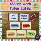 Days of the Week Labels for Absent Work and Folders