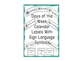 Days of the Week Labels with Sign Language Symbols