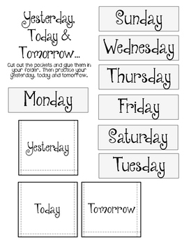 Days of the Week. Lapbook pieces. Interactive Notebook. Review