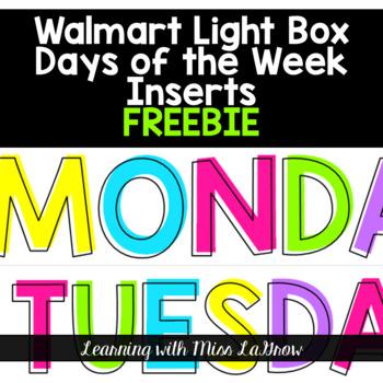 Days of the Week Light Box Insert FREEBIE