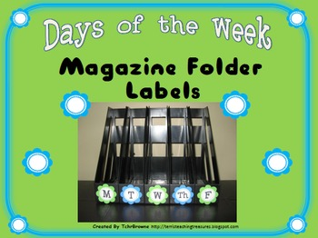 Days of the Week Magazine Folder Labels - Turquoise and Lime Green
