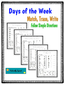 Days of the Week: Match, Trace, Write, Simple Directions