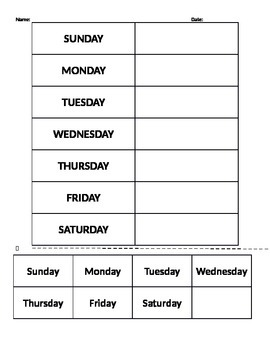 Days of the Week (Matching Activity)