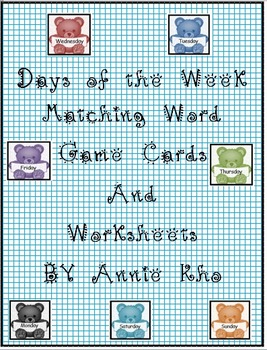 Days of the Week Matching Word Card and Worksheets