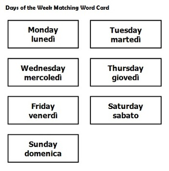 Italian Days of the Week Matching Word Game, Worksheets and Poster