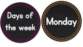 Days of the Week - Mini Chalkboard Circles