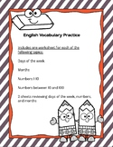 Days of the Week, Months, and Numbers - English Practice