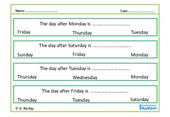 Autism Life Skills, Days of the Week & Months of the Year, Special Education