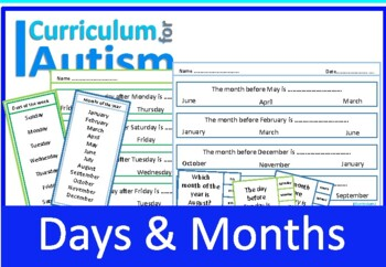 Days Months Calendar Life Skills Autism Special Education ESL
