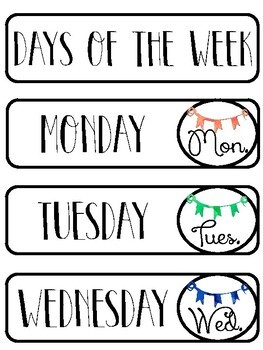 Days of the Week & Months of the Year Calendar Labels