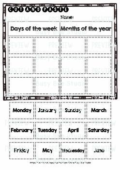 Days of the Week - Months of the Year | Category Sort | Cut and Paste Worksheets