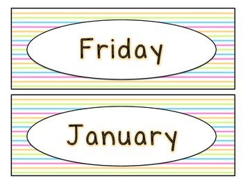 Days of the Week & Months of the Year Labels