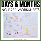Days of the Week & Months of the Year Worksheets