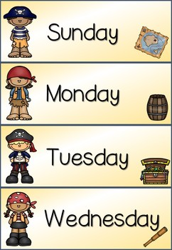 Days of the Week / Months of the Year / Seasons Classroom Display - Pirate Theme