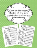 Days of the Week & Months of the Year Spelling Practice