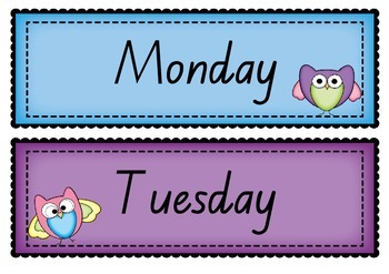 Days of the Week ~ Months of the Year in BEGINNERS font PO