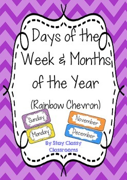 Days of the Week & Months of the Year posters ~ Rainbow Chevron