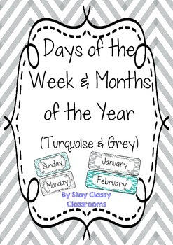 Days of the Week & Months of the Year posters ~ Turquoise