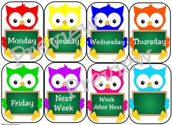 Days of the Week Owl Labels