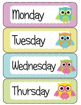 Days of the Week Owl Theme FREE
