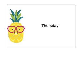 Days of the Week Pineapple File Folder Labels