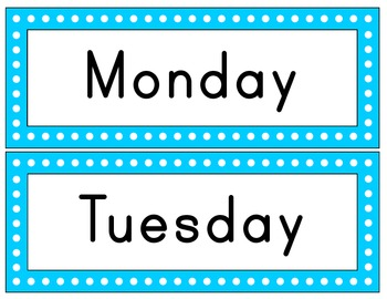 Days of the Week: Polka Dot Signs