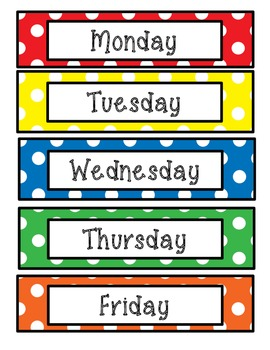 Days of the Week Polka Dots